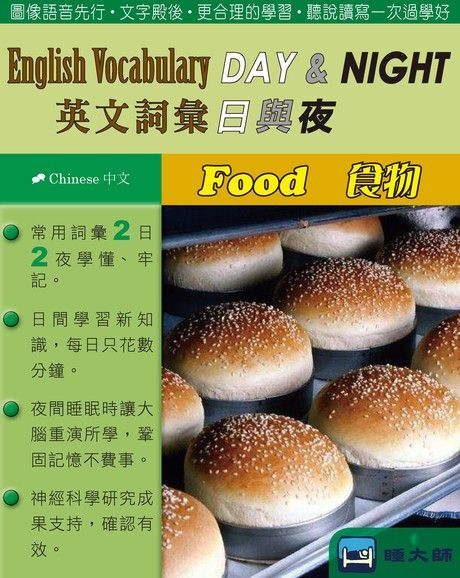 English Vocabulary DAY & NIGHT英文詞彙日與夜(Chinese中文)(Food食物)