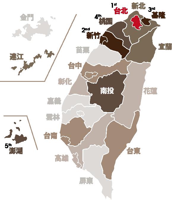 台灣各縣市閱讀排行榜