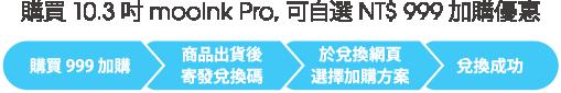 購買 10.3 吋 mooInk Pro ,可自選 NT$ 999 加購優惠 購買999加購 > 商品出貨後寄發兌換碼 > 於兌換網頁選擇加購方案 > 兌換成功